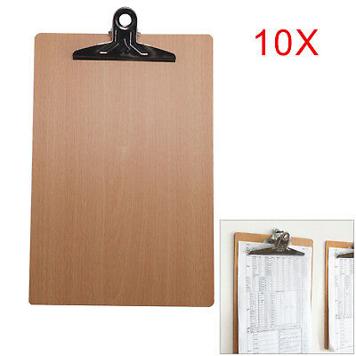 10 x Wooden A4 Clipboard Hardboard Chrome Clip Small Menu Board Rigid Documents