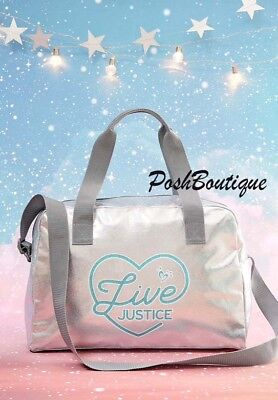 NWT Live Justice Brand Silver Duffle Tote Bag Dance Gymnastics Cheer Soccer