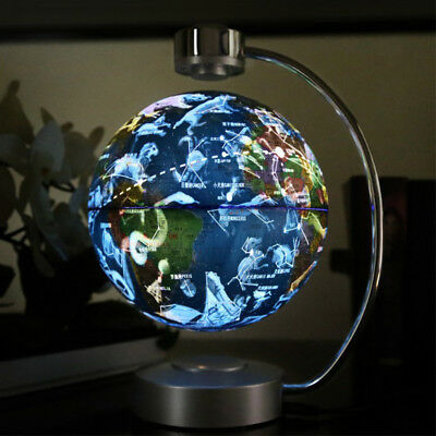 8'' Maglev Floating Globe with LED Lights Magnetic Levitation w/ World Map UK