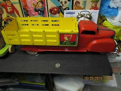 """Coca Cola Pressed Steel Delivery Stake Truck By Marx 20.5"""" 1940's Excellent Cond"""