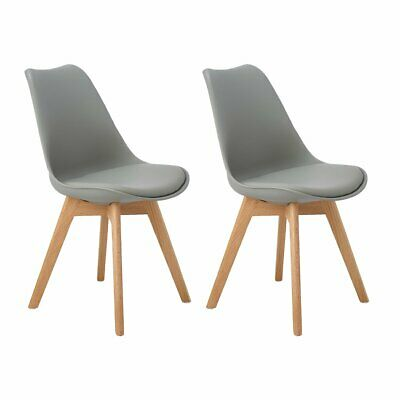 2pcs Tulip Style Dining Chair Plastic Wood Office Chair With Solid Wood Oak Legs