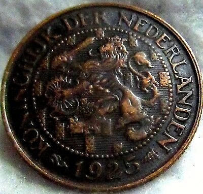 1925 Netherlands 1 Cent #1 ~ Excellent Engravings, Details ~ KM# 152