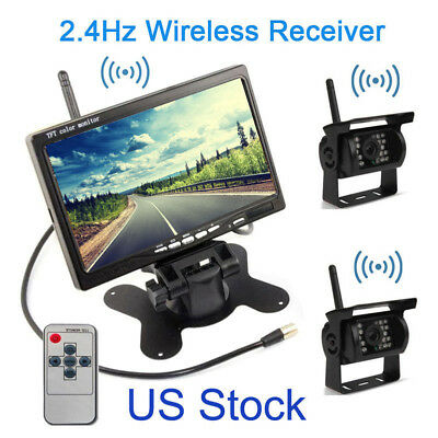 "Wireless 7"" Rear View Monitor Backup IR Camera KIT For Truck Caravan Bus Boat RV"