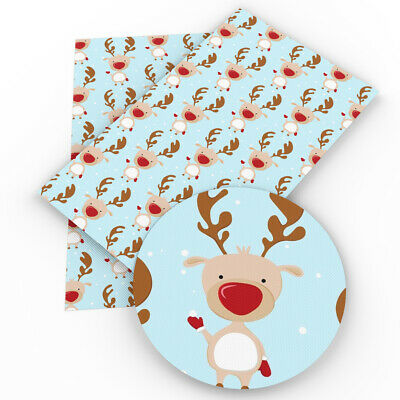 Cute Snow Printed Faux Vinyl Leatherette Fabric Sheets DIY Handmade Bows Craft
