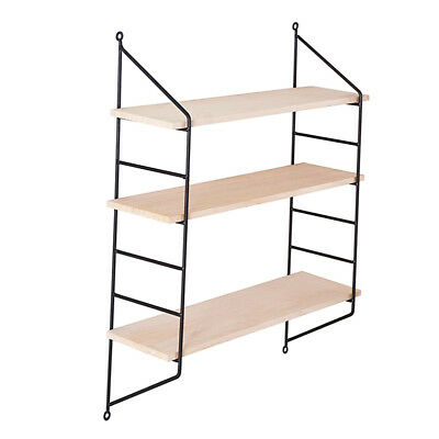 sports shoes 50084 2711a 3 TIER VINTAGE Wall Hanging Wall Shelf Wooden Floating Display Shelves-Black