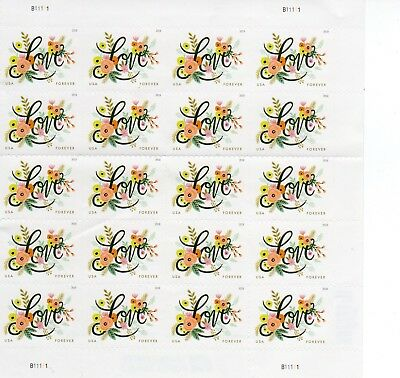 SHEET OF 20 LOVE FLOURISHES USPS FIRST CLASS FOREVER POSTAGE STAMPS / Damage