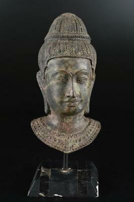 G1403: Japanese XF Copper Buddhist's head STATUE sculpture Ornament Buddhist art