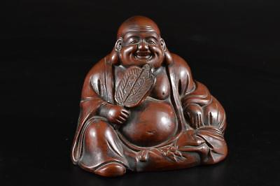 G710: Japanese Old Bizen-ware HOTEI STATUE sculpture Ornament Figurines Okimono
