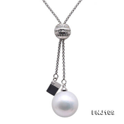 """925 Sterling Silver 15mm White Freshwater Cultured Pearl Pendant Necklace 37"""""""