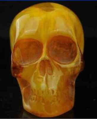 11.5 cm * / China collectibles old amber statue carving skull decoration/