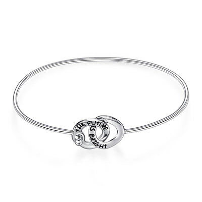 JewelryPalace Bright Intertwined Two Circles Bangle Bracelet 925 Sterling Silver
