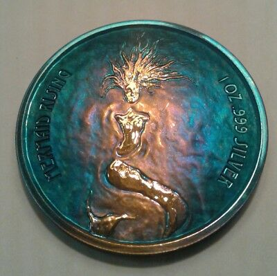 2018 Fiji Mermaid Rising 1oz. Silver Coin With Beautiful Toning, TONED,must see.
