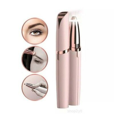 Flawless Women Brows Painless Trimmer Electric Eyebrow Hair Remover LED Light US
