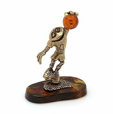 Frog Goalkeeper Brass Bronze Figurine Russian Baltic Amber Animal Sculpture 2.4""