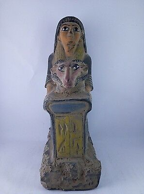 ANCIENT EGYPTIAN ANTIQUES HOREMHEB STATUE Hathor Head Sculpture 1320-1292 BC