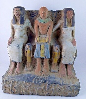 Rare Ancient Egyptian Antiquities Priest Ptahmai Family Statue 1303-1213 Bc