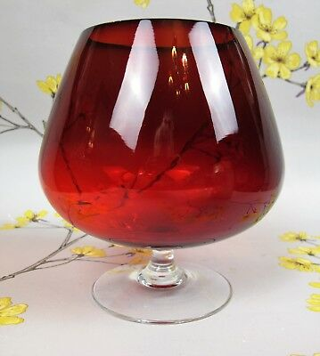 Huge oversized red ruby footed GLASS. Fits whole bottle of wine brandy cocktail.