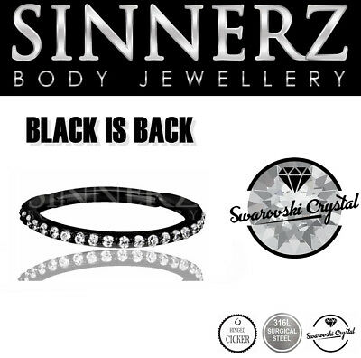 16g 12mm BLACK Hinged Crystal Clicker HELIX & CONCH RING SINNERZ BODY JEWELLERY