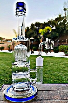"Hookah Bong Tobacco Water Pipe 10"" Heavy Base With Tree Perk N Honeycomb Blue"