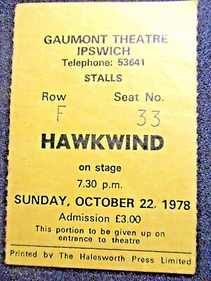 Hawkwind - Hawklords, Vintage 1978 & 1979 Rare Concert Tickets