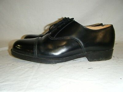 Mens Black Leather Parade Shoes British Army RAF Cadet With Toe Cap Size 8 L (1