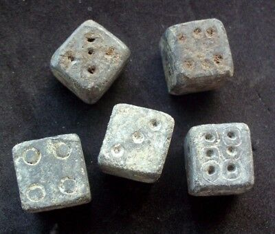 Superb Ancient Roman Lead Dices - 5 Pieces - Found Together - 100/200 Ad