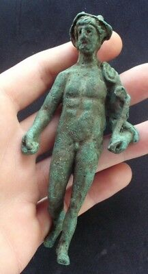 SUPERB ANCIENT ROMAN BRONZE STATUETTE OF MERCURY - 12 cm -EXTREMELY RARE- 100 AD
