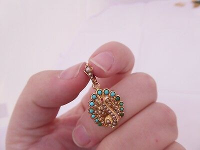 Fine Victorian natural turquoise seed pearl peacock 15ct gold pendant