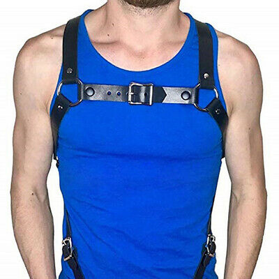Men's Armor Buckles Club Costume Leather Harness Body Chest Adjustable Belt