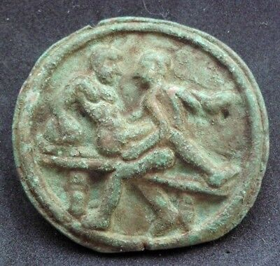 Superb Ancient Roman Bronze Brothel Sex Token / Spintria -Extremely Rare- 100 Ad