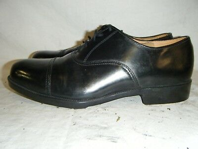 Mens Black Leather Parade Shoes British Army RAF Cadet With Toe Cap Size 9 M (6