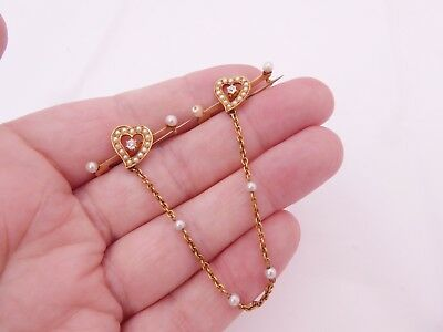 rare Victorian diamond natural seed pearl joined sweetheart 18ct gold brooches