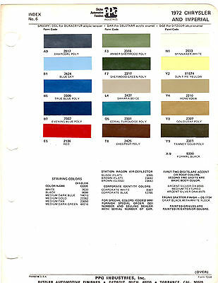 1972 Chrysler Imperial New Yorker 300 Newport 72 Paint Chips Ditzler 9
