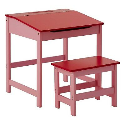 Red Kids Children Study Activity Desk Table And Stool Chair Seat Furniture Set