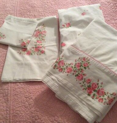 vintage Cannon cotton sheet set Rose pattern for double bed