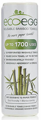 Ecoegg Re-Usable Bamboo Towels Roll White Kitchen Cleaning Wiping Dusting