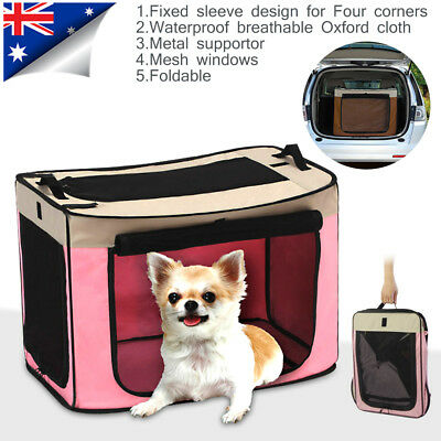 Strong Pet Dog Cat Crate Portable Folding Car Carry Carrier Crate Travel Kennel