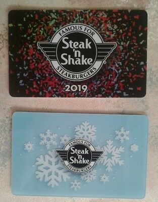 2 Steak n Shake Gift Cards 2018 Snowflake, 2019, Collectible, Mint
