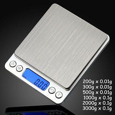 3000g X 0.1g 0.01g Digital Pocket Scale Jewelry Weight Electronic Balance Gram L