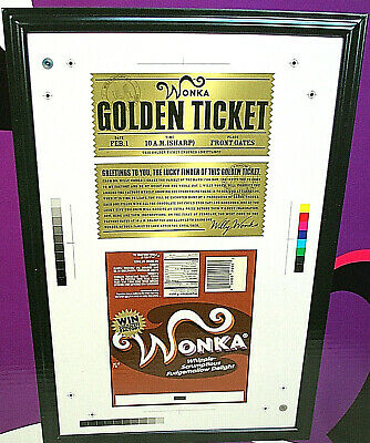 LE 2005 Willy Wonka Charlie The Chocolate Factory Golden Ticket Wrapper Framed