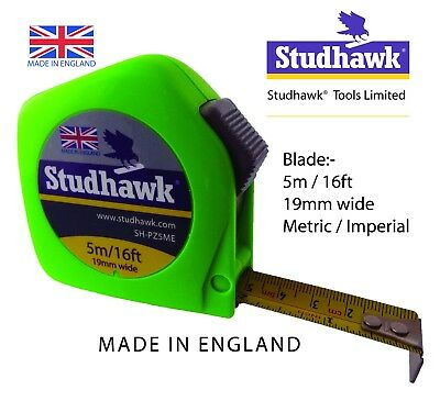 1 x STUDHAWK Tape Measure 5m/16ft 19mm wide Fisco Proflex PZC5ME Made in England