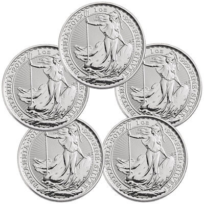 Lot of 5 2019 Great Britain 1 oz Silver Britannia £2 Coins GEM BU SKU55556