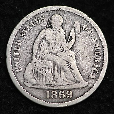 1869-S Seated Liberty Dime CHOICE FINE FREE SHIPPING E259 CL