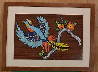 Folk Art Textured Grit Bird and Flowers on Wood by Girl Scout Troop 140 in 1968