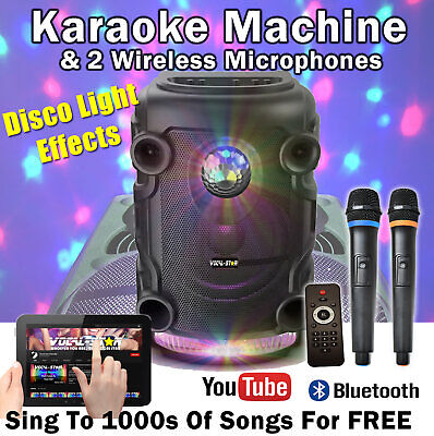 "VS Portable Bluetooth Karaoke Machine Speaker 300w 2 Wireless Mics 12"" LED Light"