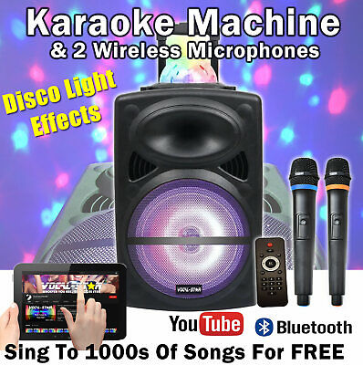 "Vocal-Star Portable Bluetooth Karaoke Machine & PA Speaker 12"" 300w 2 Mics"