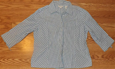 Covington Stretch 3/4 Sleeve Dressy Striped Womens Casual Shirt Top Size 14