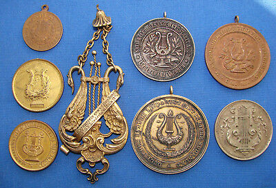 *A NICE LOT OF (8) GERMAN MUSIC MEDALS AWARDS FROM EARLY 1900's - ESTATE FRESH*
