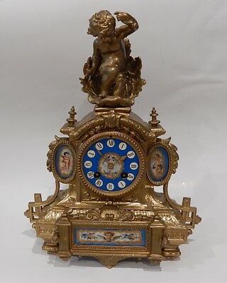 Superb Japy Freres Napoleon III French gilt metal Mantel clock.  working 2904
