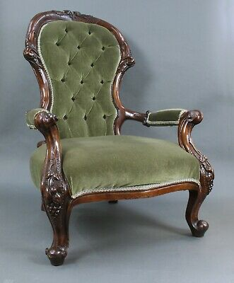 Victorian Carved Mahogany Upholstered Armchair